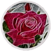 Red Rose Expressive Brushstrokes Round Beach Towel