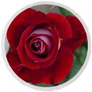 Red Rose Flower Round Beach Towel