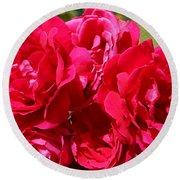 Red Rose Garden Art Prints Roses Round Beach Towel