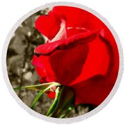 Red Rose #2 Round Beach Towel