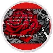 Red Rose Valentine Round Beach Towel