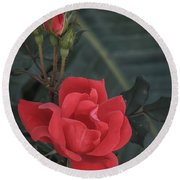 Red Rose With Bud Round Beach Towel