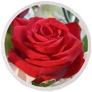 Red Rose With Garden Background  Round Beach Towel