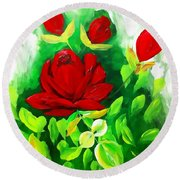 Red Roses From The Garden Impression Round Beach Towel