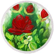 Red Roses From The Garden Round Beach Towel