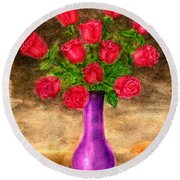 Red Roses In A Purple Vase Round Beach Towel