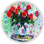 Red Roses In Water Round Beach Towel