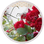 Red Roses Love And Lace Round Beach Towel