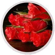 Red Roses On Wood Floor Round Beach Towel