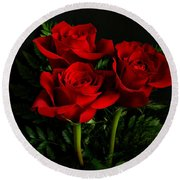 Red Roses Round Beach Towel by Sandy Keeton