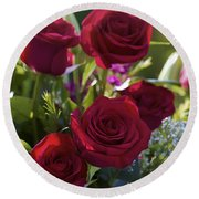 Red Roses The Language Of Love Round Beach Towel