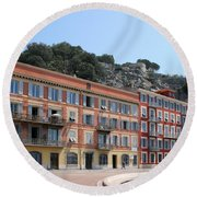 Red Row Houses In Nice Round Beach Towel