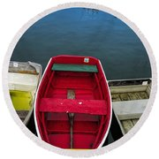 Red Rowboat Round Beach Towel