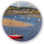 Red Sail Boat Round Beach Towel