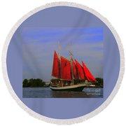 Red Sails Round Beach Towel