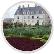 Red Salad And Cabbage Garden - Chateau Villandry Round Beach Towel