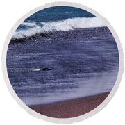 Red Sand Beach Abstract Round Beach Towel