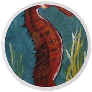 Red Seahorse - Sold Round Beach Towel