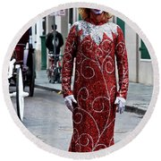 Red Sequined Mime Round Beach Towel by Kathleen K Parker