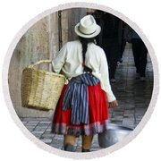Red Skirted Woman Of Cuenca Round Beach Towel