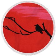Red - Silhouette - Sunset Round Beach Towel