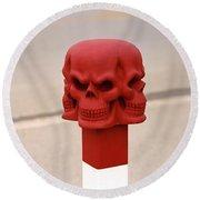 Red Skull Round Beach Towel