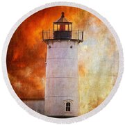Red Sky At Morning - Nubble Lighthouse Round Beach Towel