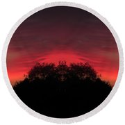 Red Sky In The Morning 02 Mirror Image Round Beach Towel