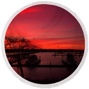 Red Sky In The Morning Two Round Beach Towel