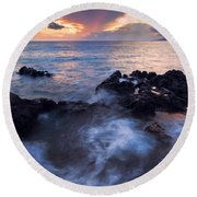 Red Sky Over Lanai Round Beach Towel by Mike  Dawson