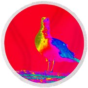 Red Sky Seagull Round Beach Towel
