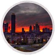 Red Sky Sunrise Midtown Atlanta Round Beach Towel