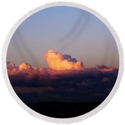 Red Skys At Morn Round Beach Towel