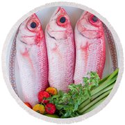 Red Snappers Round Beach Towel