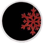 Red Snow Flake On A Black Background Round Beach Towel