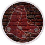 Red Sox Baseball Graffiti On Brick  Round Beach Towel