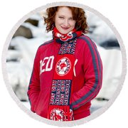 Red Sox Girl Round Beach Towel