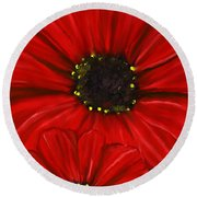 Red Spectacular- Red Gerbera Daisy Painting Round Beach Towel