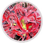 Red Spider Lily Flower Painting Round Beach Towel