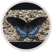Red Spotted Purple Butterfly Round Beach Towel