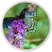 Red Spotted Purple Butterfly Photopainting Round Beach Towel