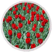 Red Spring Round Beach Towel