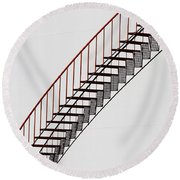 Red Steps On Tank 2 Round Beach Towel