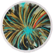 Red Streak Round Beach Towel