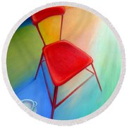Red Studio Chair Round Beach Towel