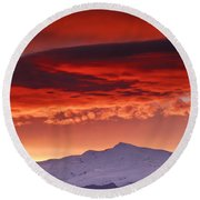 Red Sunrise Over National Park Sierra Nevada Round Beach Towel