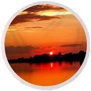 Red Sunset Beauty Round Beach Towel