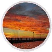Red Sunset Pier Seaside Nj Round Beach Towel