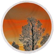 Red Sunset With Trees Round Beach Towel