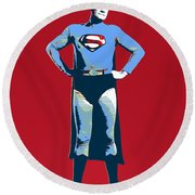 Red Superman Round Beach Towel